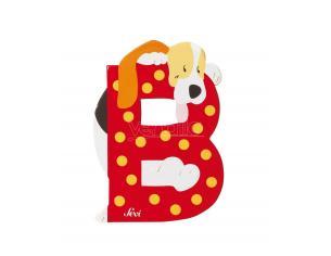 Trudi Sevi 81602 - Letteraa B Basset-hound In Legno Rosso 8,5 Cm Decorazione