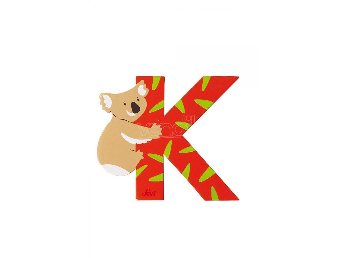 Trudi Sevi 81611 - Lettera K Koala in legno Arancione  7,5 cm Decorazione