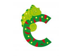 Trudi Sevi 81603 - Letteraa C Camaleonte In Legno Verde 9,5 Cm Decorazione