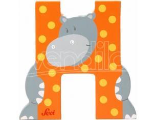 Trudi Sevi 81608 - Lettera H Hippopotamus in legno Arancione 7,5 cm Decorazione