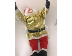 Babbo Natale morbido vestito oro e rosso in altalena 90cm Decorazione Natalizia