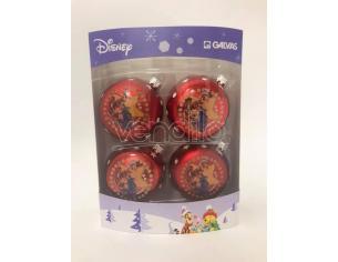 Set 4 Palline rosse Tigro e Ih-Oh Decorazioni Disney Winnie The Pooh
