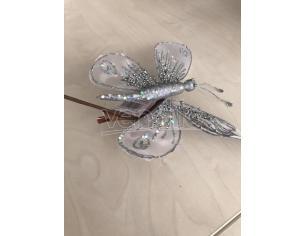 Farfalla argento con brillantini da appendere con molletta Decorazione natalizia