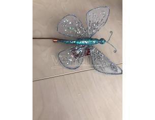 Farfalla argento e blu brillante da appendere con molletta Decorazione natalizia