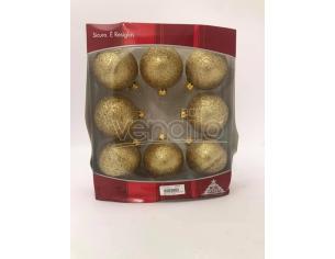 Set 8 Palline brillantate in oro Decorazione Natalizia Albero Scatola Rovinata