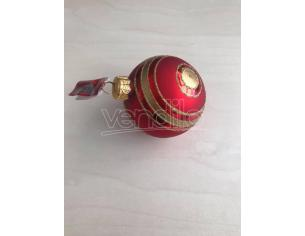 Pallina rossa con righe oro Albero di Natale Decorazione Natalizia da appendere