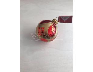 Pallina rossa decorata in oro Albero di Natale Decorazione Natalizia Galvas