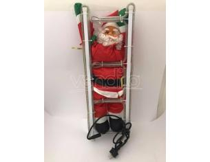 Babbo Natale arrampicato su scala con luci 63cm Decorazione Natalizia