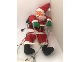 Babbo Natale morbido con scaletta e luci 90cm Decorazione Natalizia Rovinato