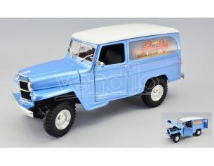 LUCKY DIE CAST LDC92858AB WILLYS JEEP VAN LUCKY EST.1978 LIGHT BLUE METALLIC W/WHITE ROOF 1:18 Modellino