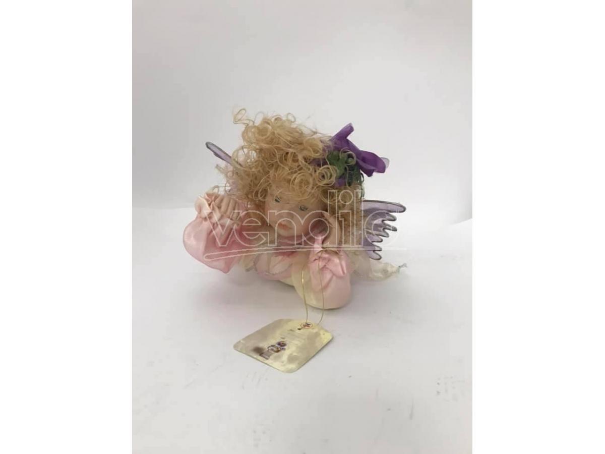 Bambola in porcellana Fata stesa con vestito rosa 32 cm Scatola Rovinata