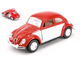 KINSMART KT5373WR VW CLASSICAL BEETLE 1967 WHITE/RED 1:32 Modellino