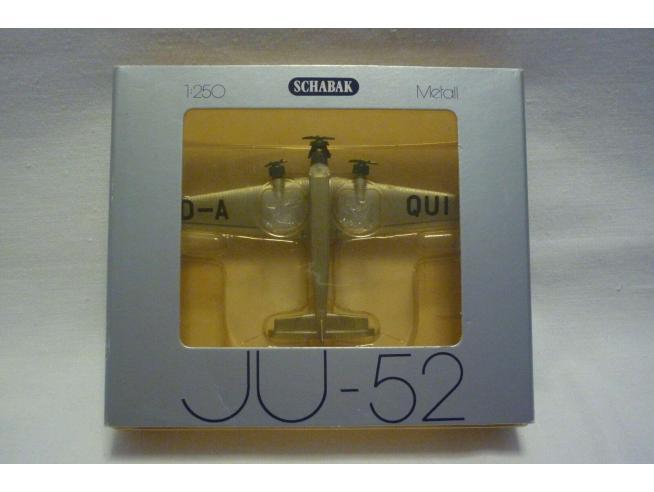 Schabak Aeroplano in Metallo Junkers JU-52 DA-QUI 1/250 Modellino Scatola Rovinata