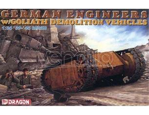 Dragon D6103 GERMAN ENGINEERS W/GOLIATH DEMOLITION VEHICLES KIT 1:35 Modellino