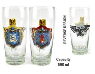 HMB W40K CHAPTERS LARGE GLASS SET (2) BICCHIERI