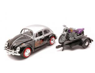 Motormax MTM79675 VW BEETLE W/TRAILER & MOTORCYCLE 1:24 Modellino