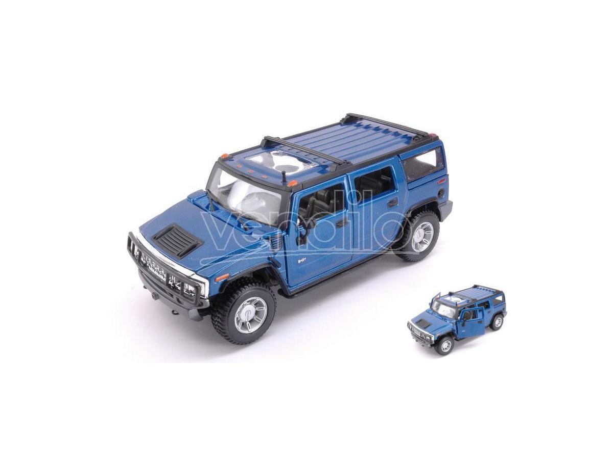 Maisto Mi31231b Hummer H2 Suv 2003 Metallolic Blue 1:27 Modellino
