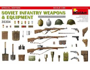 MINIART MIN35304 SOVIET INFANTRY WEAPONS AND EQUIPMENT KIT 1:35 Modellino