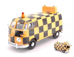 MOTORMAX MTM79572 VW TYPE 2 (T1) 1965 DELIVERY VAN AIRPORT RUNWAY BLACK/ORANGE 1:24 Modellino