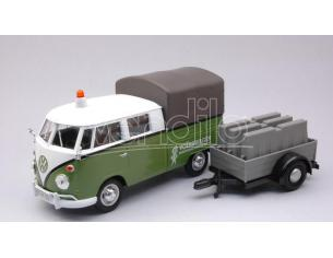MOTORMAX MTM79676 VW T2 PICK UP ROAD MAINTENANCE TRAILER GREEN/WHITE 1:24 Modellino