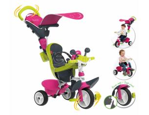 Triciclo Baby Driver Confort Verde e Rosa da 10 Mesi Smoby 7600741201