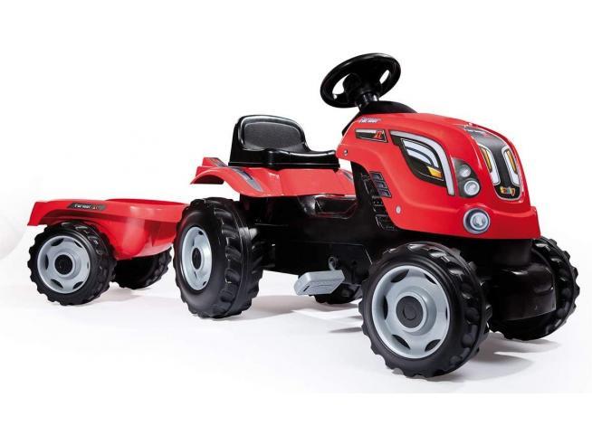 Trattore GM Farmer XL Rosso a Pedali con Rimorchio da 3 Anni Smoby 7600710108