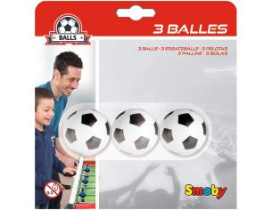 Tre Palline Calcetto in Plastica da 34 mm per Calciobalilla Smoby 7600140711