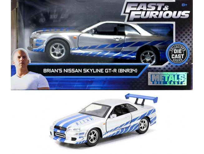 JADA TOYS 253202000 Fast & Furious Nissan Skyline GT-R R34 di Brian Die Cast 1:32