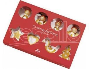 Sevi 818689 - scatola Regalo 12 decorazioni in legno Addobbi Natale