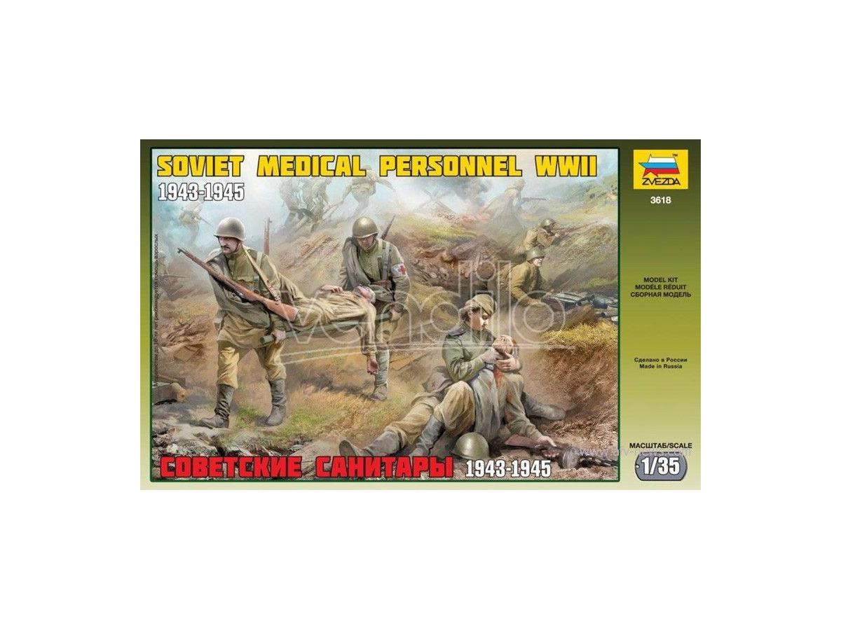 Zvezda Z3618 SOVIET MEDICAL PERSONNEL WWII KIT 1:35 Modellino