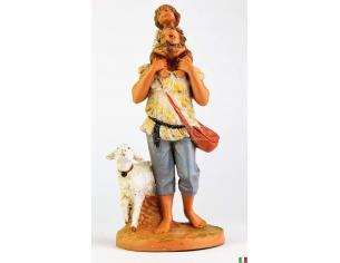 Fontanini 466 Statuina Presepe: Pastore con Pecora e Bimbo in Spalla Resina 12cm
