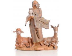 Fontanini 4834 - Statuina Presepe: Pastore Anziano con Animali Resina 12 cm