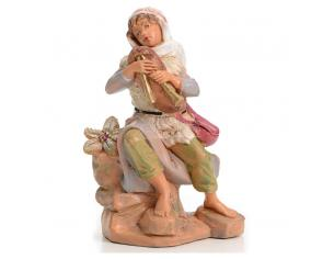 Fontanini 646 Statuina Presepe:Pastore con Piffero Resina 12cm Edizione Limitata