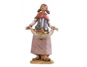 Fontanini 4813 - Statuina Presepe: Pastorella con Frutta Resina 12 cm