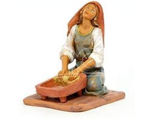 Fontanini 2740 - Statuina Presepe: Pastorella che Impastano Resina 12 cm