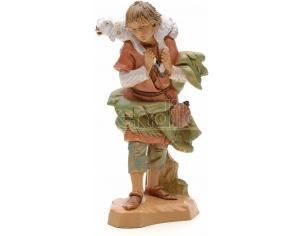 Fontanini 5741 - Statuina Presepe: Pastore con Pecora sulle Spalle Resina 12 cm