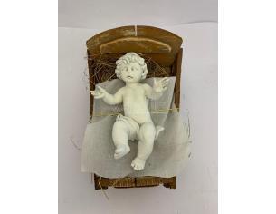 Fontanini 4750 - Statuina Presepe: Bambino e Culla Luminescente Resina 45 cm
