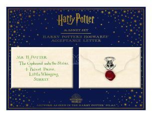 Harry Potter Set Magnete Letteraa Di Accettazione A Hogwarts Di 5,5 X 8 Cm Noble