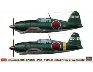 HASEGAWA 01931 MITSUBISHI J2M3 RAIDEN JACK TYPE 21 302nd FLYING GROUP COMBO 1:72 KIT Modellino
