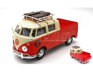 MOTORMAX MTM79582 VW TYPE 2 (T1) 1965 PICK UP WITH ROOF RACK RED/CREAM 1:24 Modellino