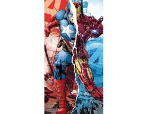 Marvel Avengers Asciugamano Cotone Captain America E Iron Man Kids Licensing
