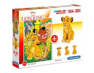 Il Re Leone Disney Puzzle 104 Pezzi + Puzzle 3D 10x12x14 cm Clementoni