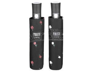 Flowers with black automatic folding assorted umbrella 54cm Perletti