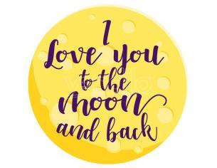 I Love You To The Moon E Back Microfibra Round Telo Mare