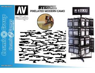 STENCIL STCAM004 PIXELATED MODERN CAMO ACCESSORI PER MODELLISMO VALLEJO