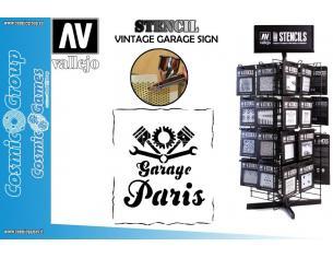 STENCIL STLET001 VINTAGE GARAGE SIGN 125 ACCESSORI PER MODELLISMO VALLEJO