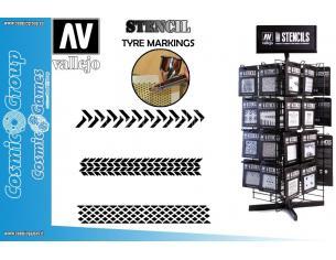 STENCIL STTX002 TYRE MARKINGS ACCESSORI PER MODELLISMO VALLEJO