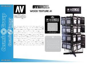 STENCIL STTX006 WOOD TEXTURE  1 ACCESSORI PER MODELLISMO VALLEJO
