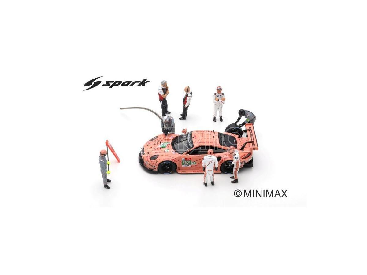 SPARK MODEL S43AC013 FIGURINE SET PORSCHE GT TEAM 24 H LE MANS 2018 CAR IS NOT INCLUDED 1:43 Modellino
