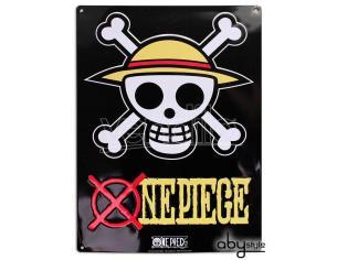 "One Piece – Metallo Plate ""skull - Luffy"" (28x38) Con Hook"